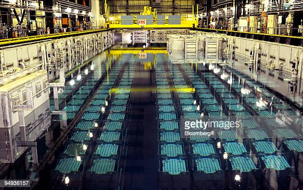 Spent nuclear fuel cells are stored in a tank at Areva's nuclear recycling plant in La Hague, France, on Monday, Jan. 26, 2009. Areva SA may get bids...