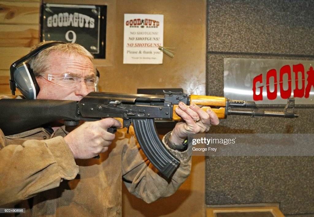 A spent shell flies out of an AK-47 as Vince Warner fires with a bump stock installed at Good Guys Gun and Range on February 21, 2018 in Orem, Utah. The bump stock is a device when installed allows a semi-automatic to fire at a rapid rate much like a fully automatic gun.