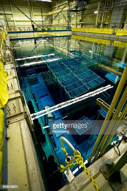 Spent uranium fuel rods, collected over 30 years of operation, are stored under water after powering a reactor at the Bruce B nuclear power plant in...