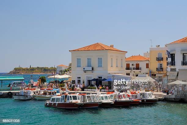 Spetses / Spetse town harbour, Spetses, Saronic Islands, Attica, Peloponnese, Greece.