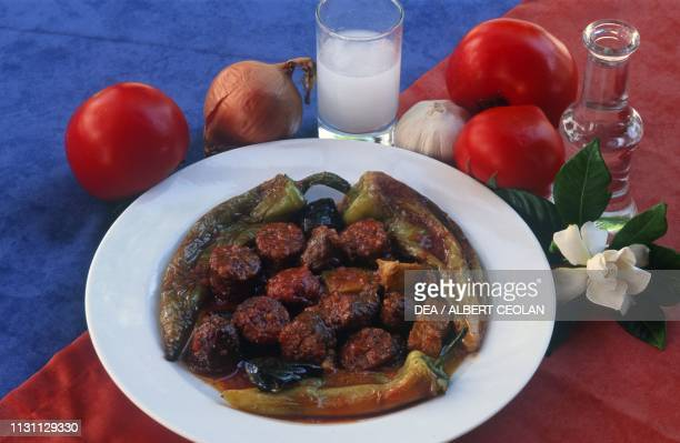 Spetsofai typical dish with meat and vegetables Pelion peninsula Greece
