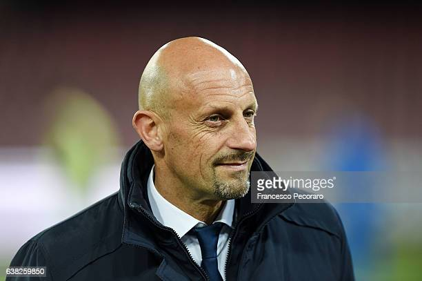 Spezia coach Domenico Di Carlo looks on during the TIM Cup match between SSC Napoli and AC Spezia at Stadio San Paolo on January 10 2017 in Naples...
