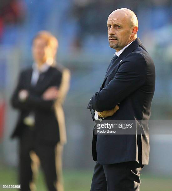 Spezia head coach Domenico Di Carlo looks on during the TIM Cup match between AS Roma and AC Spezia at Stadio Olimpico on December 16 2015 in Rome...