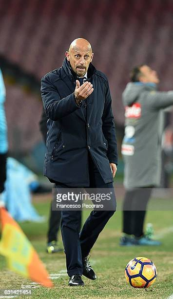 Spezias coach Domenico Di Carlo looks on during the TIM Cup match between SSC Napoli and AC Spezia at Stadio San Paolo on January 10 2017 in Naples...