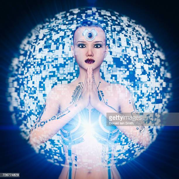 Sphere hovering over woman cyborg with hands clasped