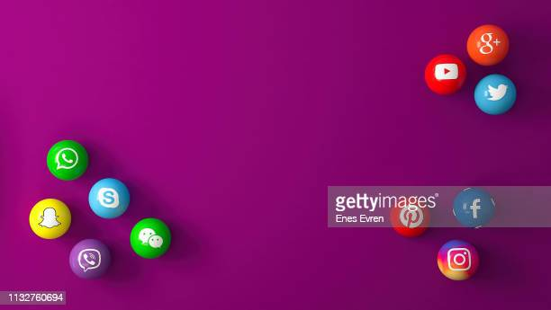 sphere shape of marble social media services icons on purple desk - social media icons stock pictures, royalty-free photos & images