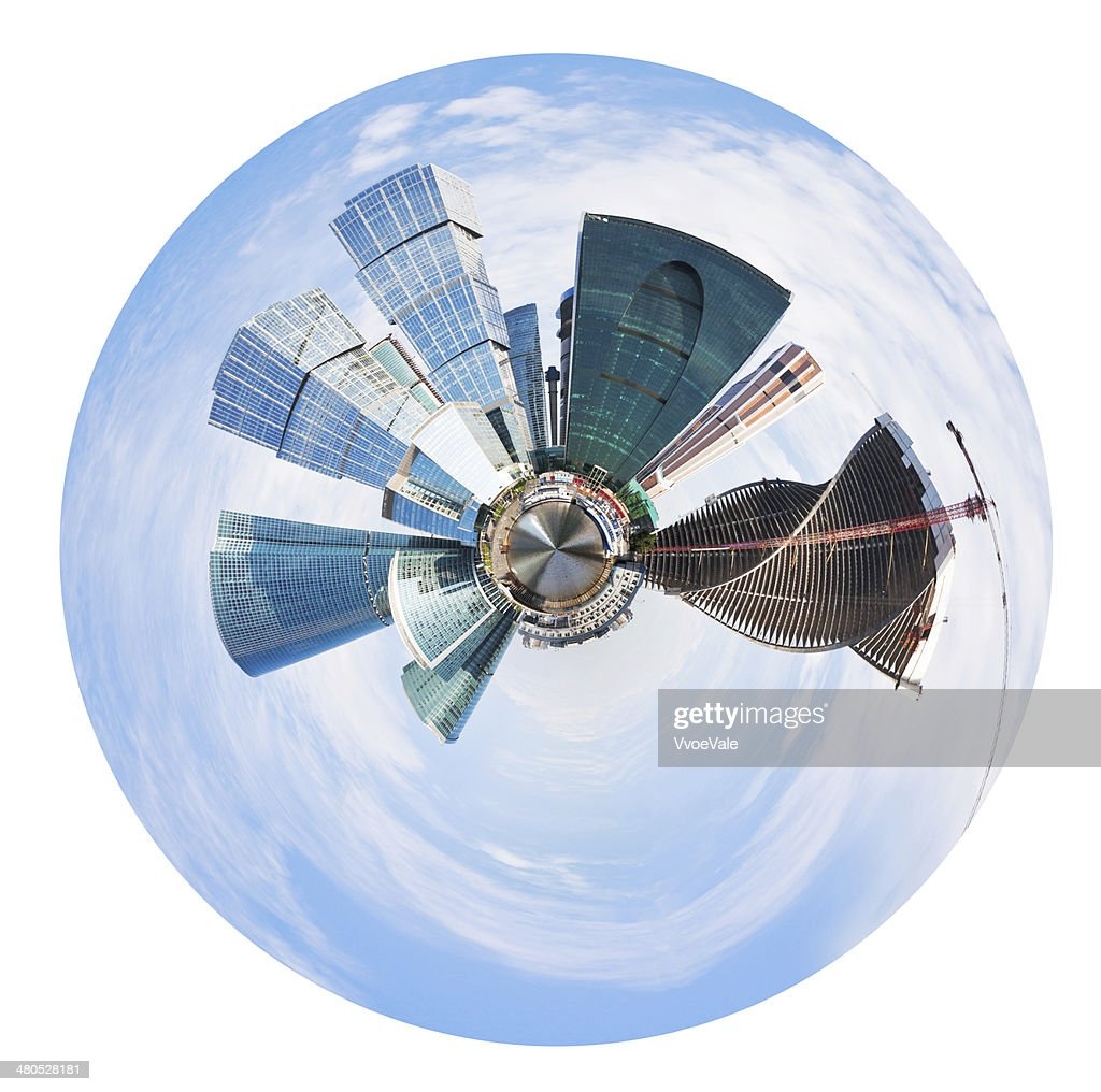 spherical panorama of Moscow city towers : Bildbanksbilder