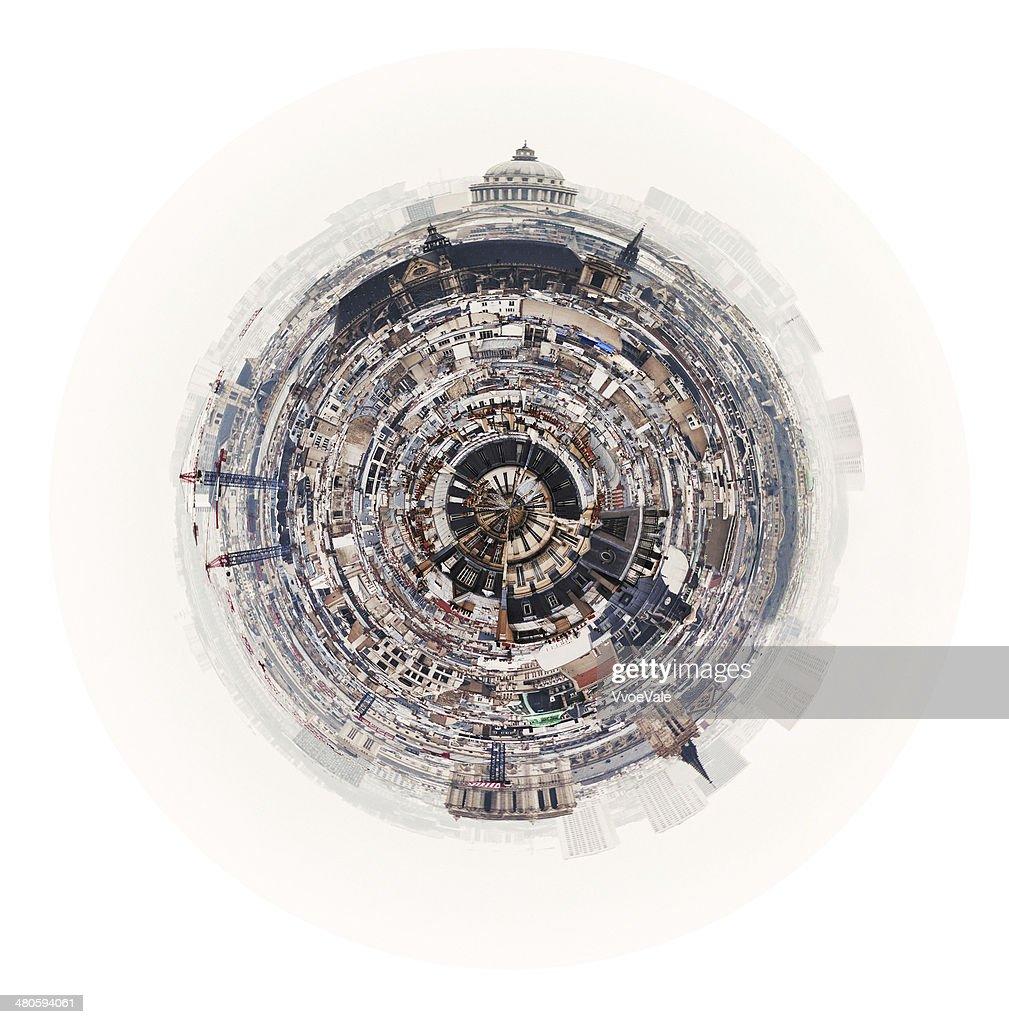 spherical panorama of Paris with Pantheon : Stock Photo