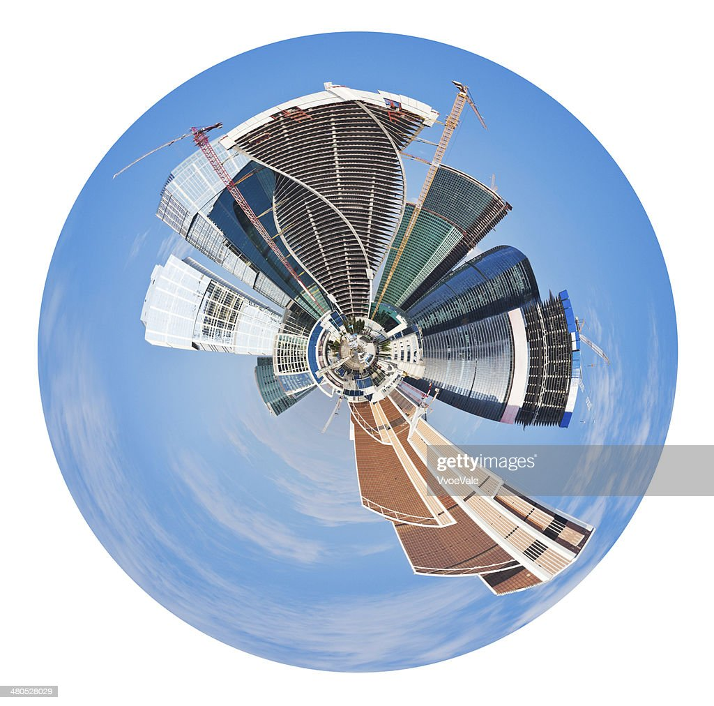 spherical panoramic view of Moscow city : Stock Photo
