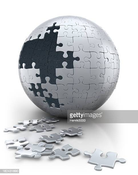 Spherical puzzle in progress - neutral white (Clipping path)