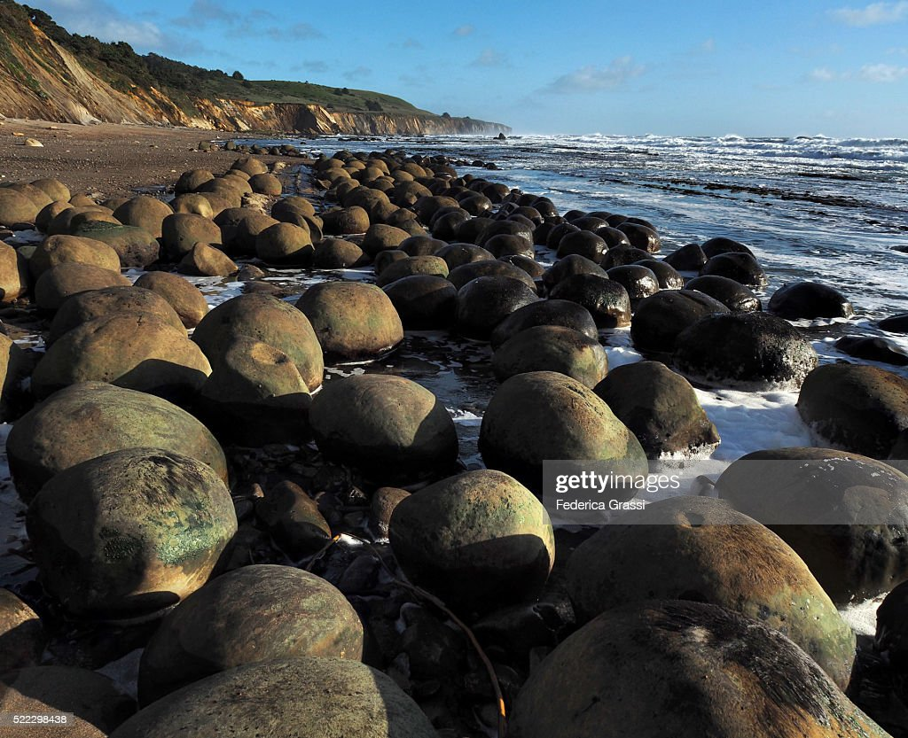 Spherical Rock Concretions At Bowling Ball Beach California Stock