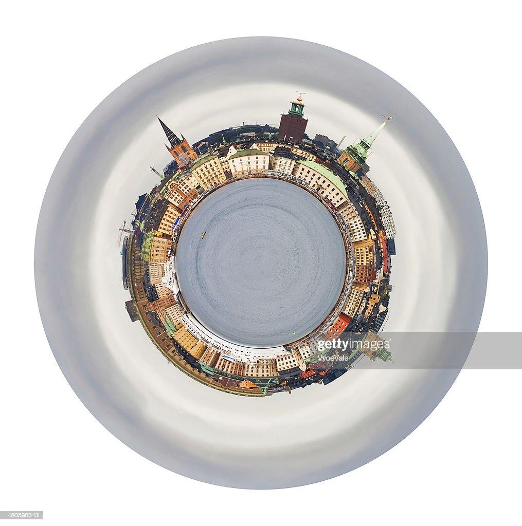 spherical skyline of Gamla Stan, Stockholm : Stock Photo