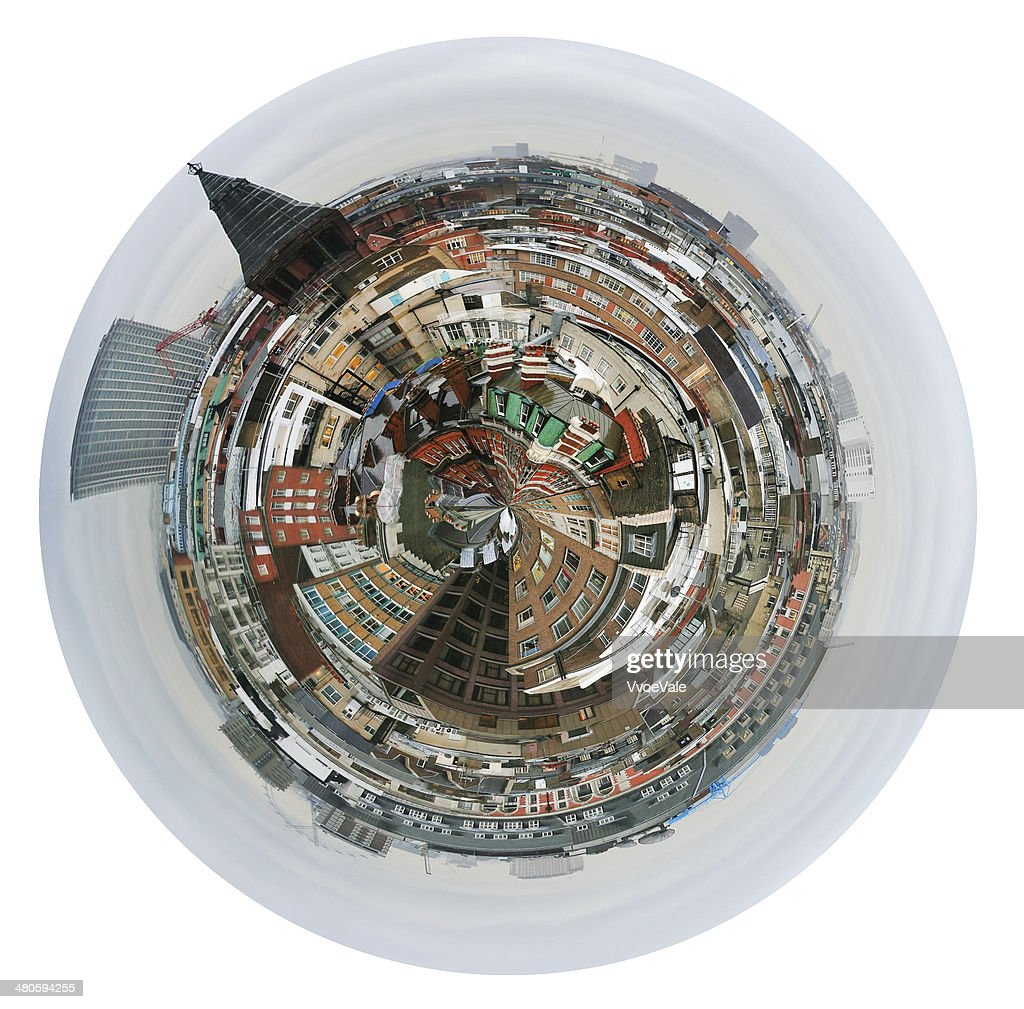 spherical view of London houses : Stock Photo