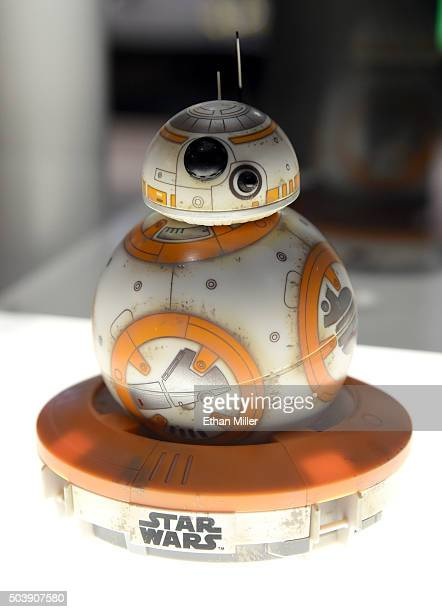 Sphero's BB8 technical prototype robot is displayed at CES 2016 at the Las Vegas Convention Center on January 7 2016 in Las Vegas Nevada Sphero...