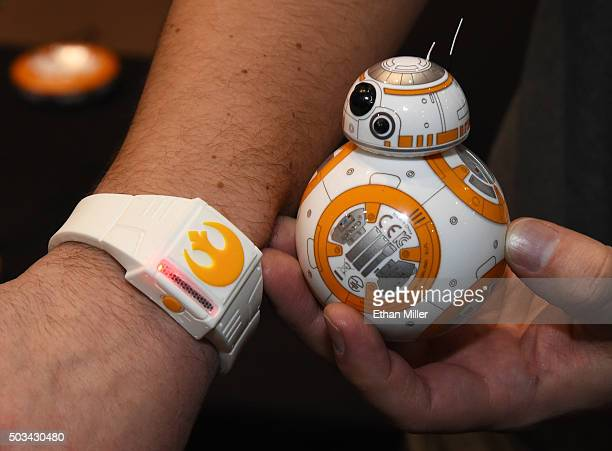 Sphero's BB-8 technical prototype with Force Band is displayed during a press event for CES 2016 at the Mandalay Bay Convention Center on January 4,...