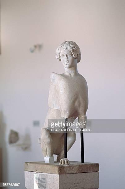 Sphinx 460 BC votive monument from the temple of Apollo ancient Aegina island of Aegina Greece Greek civilisation 5th century BC Aegina...