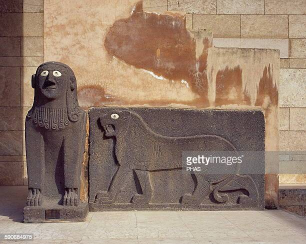 Sphinx and a lion in relief Basalt Guarding the temple of Tell Halaf From about 6100 to 5400 BC Currently located at the entrance to the National...