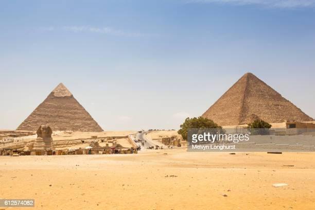 Sphinx and Khafre Pyramid, (Chephren Pyramid), and Great Pyramid of Giza, (Khufu and Cheops Pyramid)