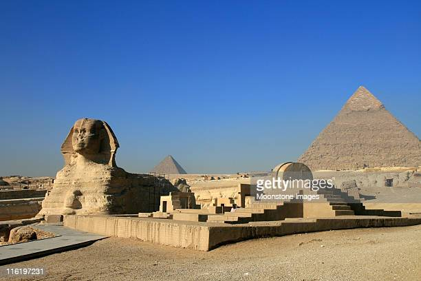 Sphinx and Khafre Pyramid in Cairo, Egypt