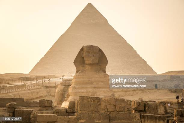 sphinx and pyramid in cairo, egypt - egypt stock pictures, royalty-free photos & images