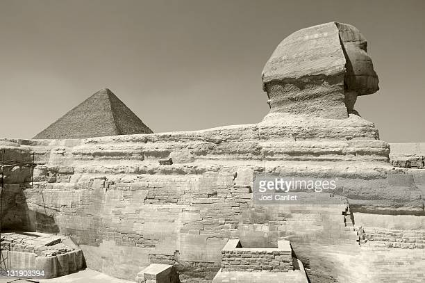 Sphinx and Pyramid in Giza, Egypt