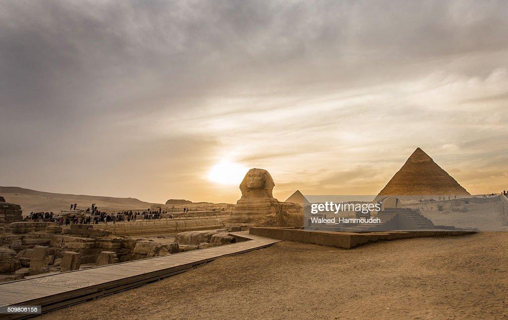 Sphinx and Pyramids : Stock Photo