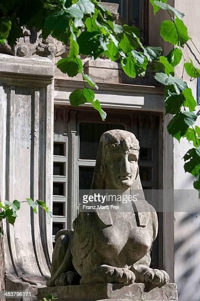 Sphinx in front of an art deco home in Alberta Str