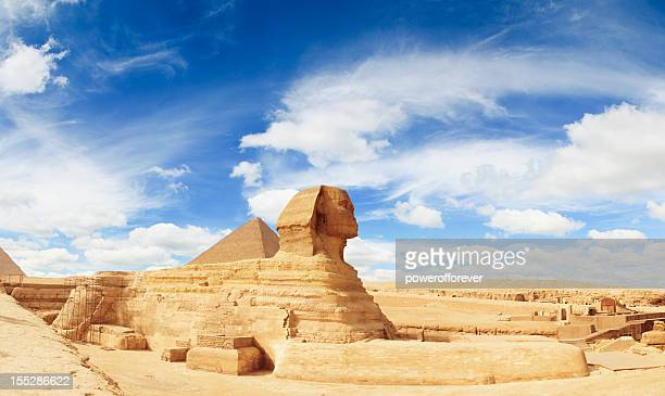 sphinx panorama - egyptian artifacts stock pictures, royalty-free photos & images