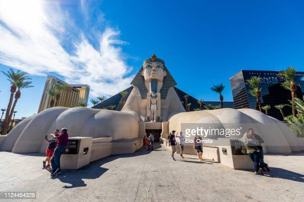 sphinx replica in luxor hotel las vegas - luxor hotel stock pictures, royalty-free photos & images