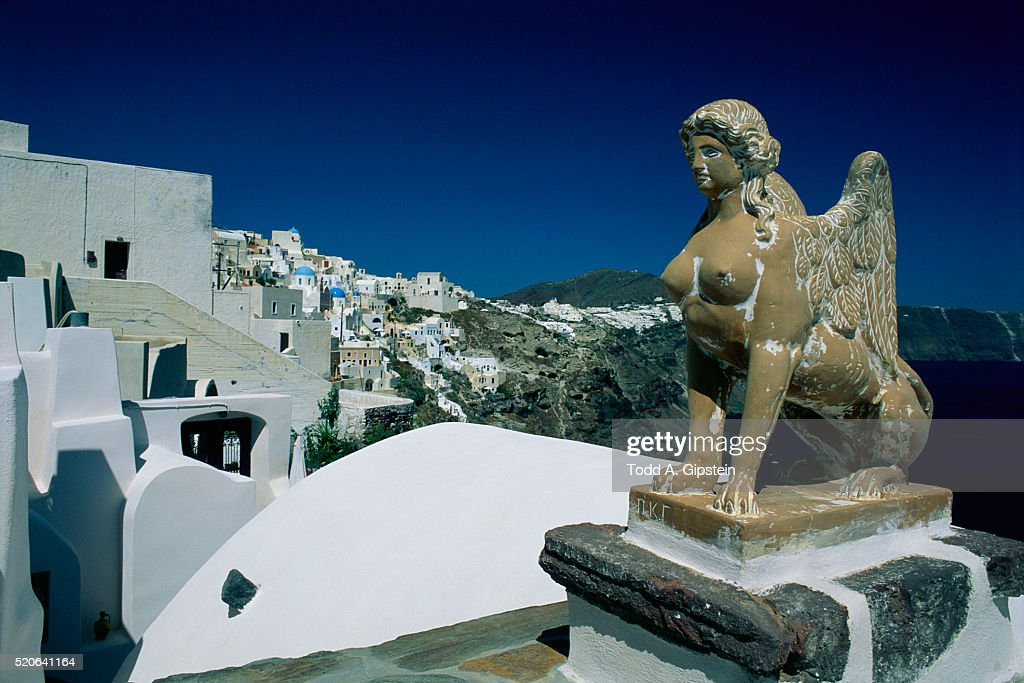 Sphinx Statue on Greek Island of Thira : Stock Photo
