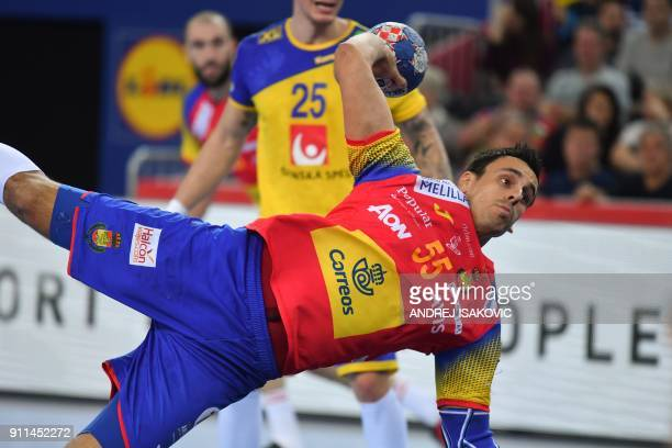 Spian's Adrian Figueras jumps to shoot on goal during the final match of the Men's 2018 EHF European Handball Championship between Spain and Sweden...
