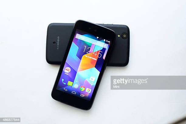 Spice Android One Smartphone on September 15 2014 in New Delhi India Running on stock Android the set is priced economically to target at people...
