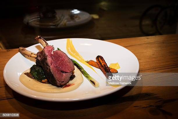TORONTO ON JANUARY 09 Spice ash crusted rack of deer with parsnip pure´e and swiss chard is served at Antler restaurant on Dundas Street West