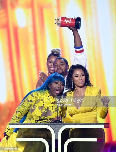 Spice Bambi Lil Scrappy and Karlie Redd accept the Best Reality Royalty award for 'Love Hip Hop Atlanta' onstage during the 2019 MTV Movie and TV...