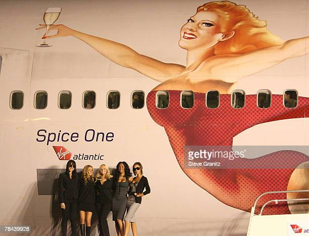 Spice Girls Geri Halliwell Melanie Chisholm Emma Bunton Melanie Brown and Victoria Beckham name the Virgin Atlantic plane 'Spice One' at Los Angeles...