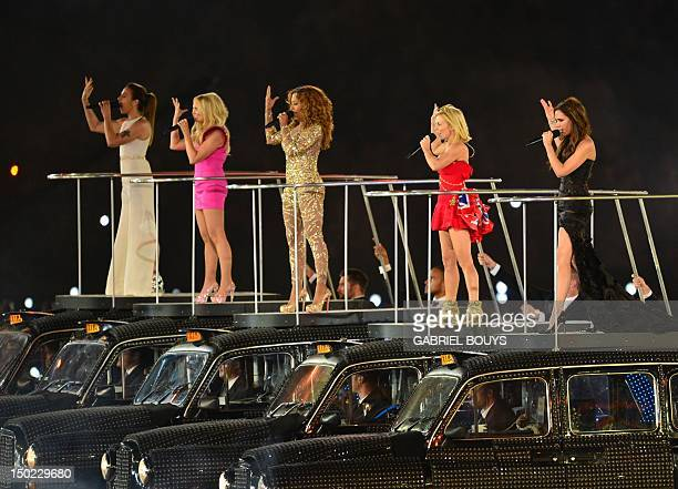 Spice Girls' Melanie Chisholm, Emma Bunton, Melanie Brown, Geri Halliwell and Victoria Beckham perform during the closing ceremony of the 2012 London...