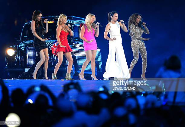Spice Girls perform at the Olympic stadium during the closing ceremony of the 2012 London Olympic Games in London on August 12, 2012. Rio de Janeiro...