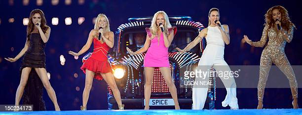 Spice Girls perform during the closing ceremony of the 2012 London Olympic Games at the Olympic stadium in London on August 12 2012 Rio de Janeiro...