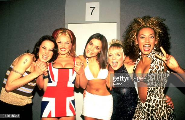 Spice Girls photographed backstage at the Brit Awards in February 1997 .;