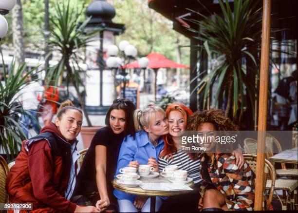 Spice Girls, portrait, in the street in Paris, France, 1996. L-R Mel C, Victoria Adams, Emma Bunton, Geri Halliwell, Mel B.