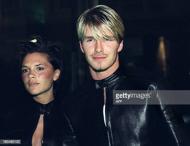 Spice Girls Victoria Adams arrives with her husband Manchester United and England star David Beckham to a Versace starstudded reception hosted by...