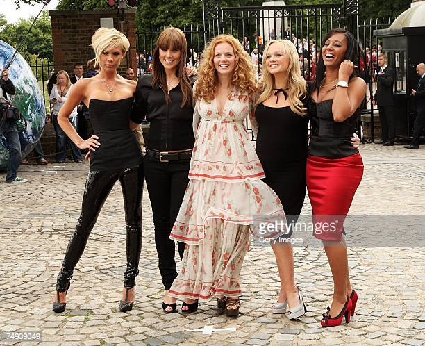 Spice Girls Victoria Beckham Melanie Chisholm Geri Halliwell Emma Bunton and Melanie Brown pose at a photocall at the Royal Observatory Greenwich...