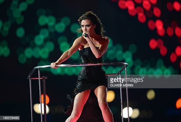 Spice Girls' Victoria Beckham performs during the closing ceremony of the 2012 London Olympic Games at the Olympic stadium in London on August 12,...
