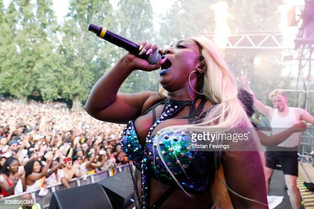 Spice perfroms at the 'Red Bull Music Academy Soundsystem' at Notting Hill Carnival 2017 on August 27 2017 in London England