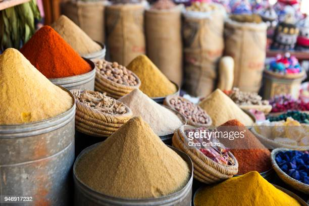 spice stall, marrakesh medina - istanbul stock photos and pictures