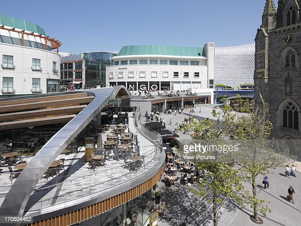 Spiceal Street with St Martin's church on the far right Selfridges next to it and Bullring behind Spiceal Street Bullring Shopping Mall Europe United...