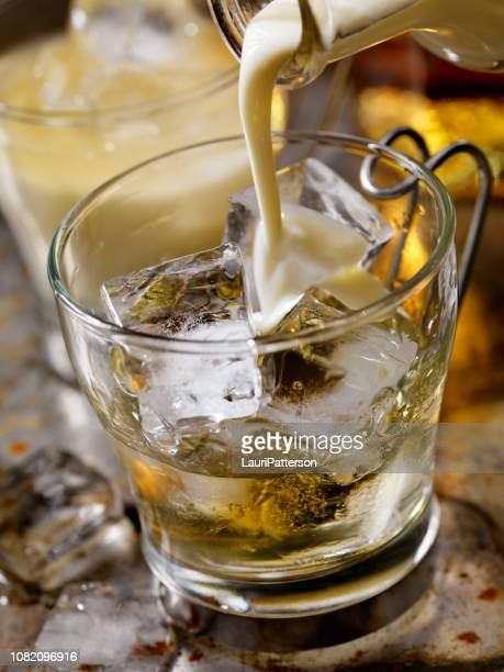 spiced rum and eggnog - eggnog stock photos and pictures