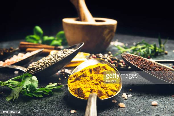 spices and herbs close up - herbal medicine stock pictures, royalty-free photos & images