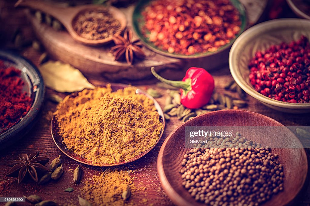 Spices and Herbs on Wooden Background : Stock Photo