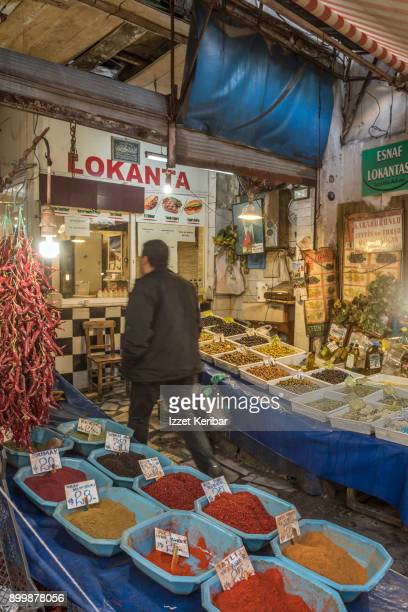 Spices and olives on sale at Havra street market Izmir